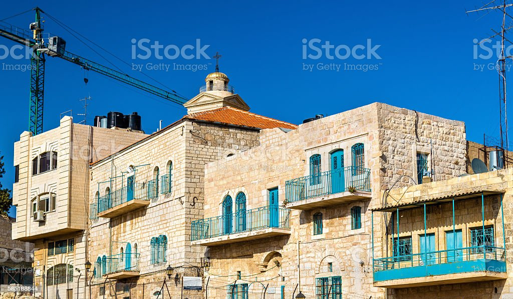 Buildings in the city centre of Bethlehem stock photo