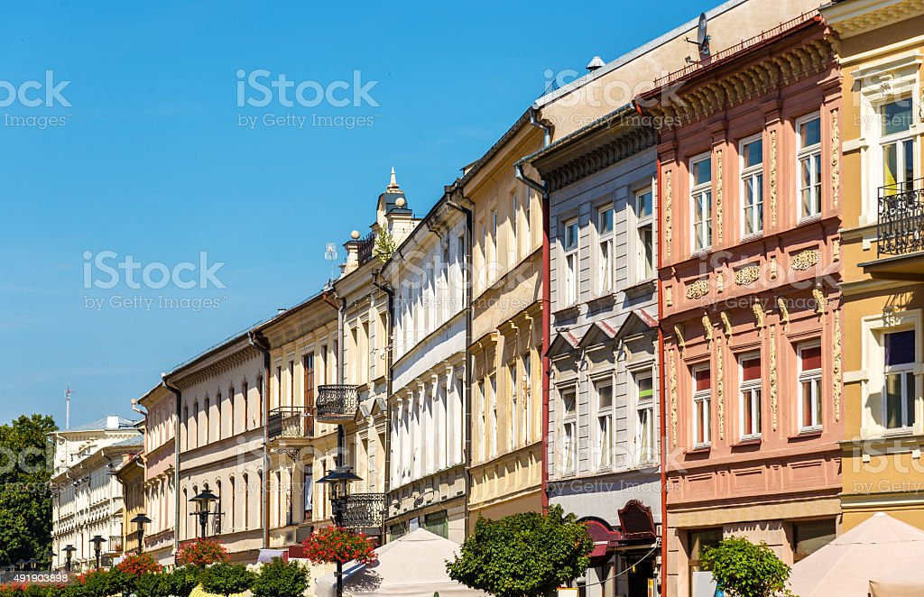 Buildings in the historic centre of Lublin, Poland stock photo