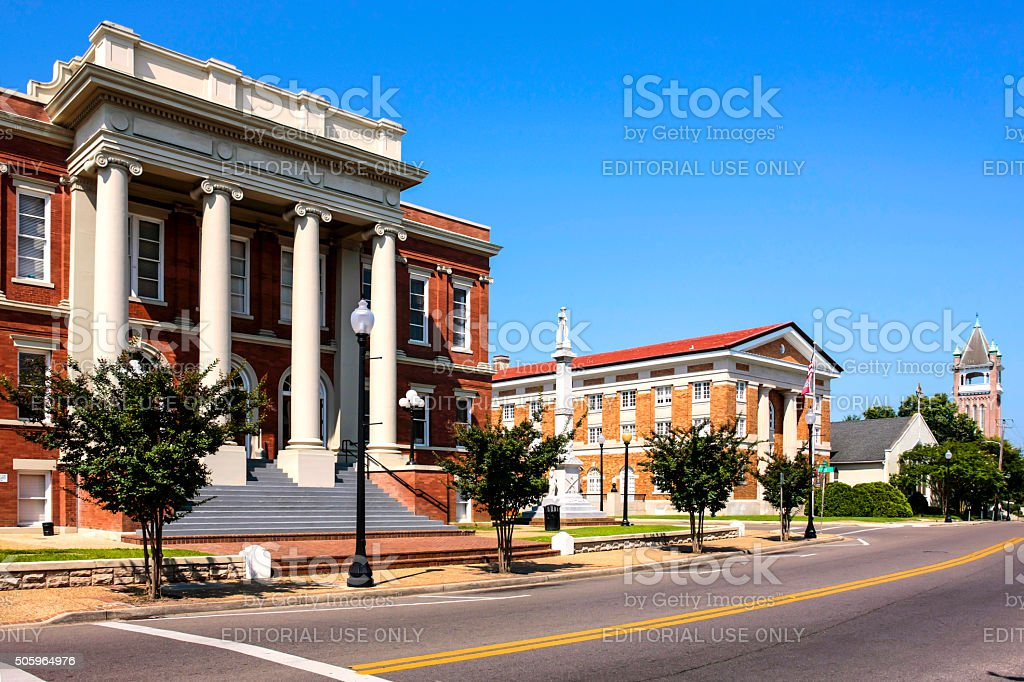 Buildings in the historic district of Hattiesburg MS stock photo