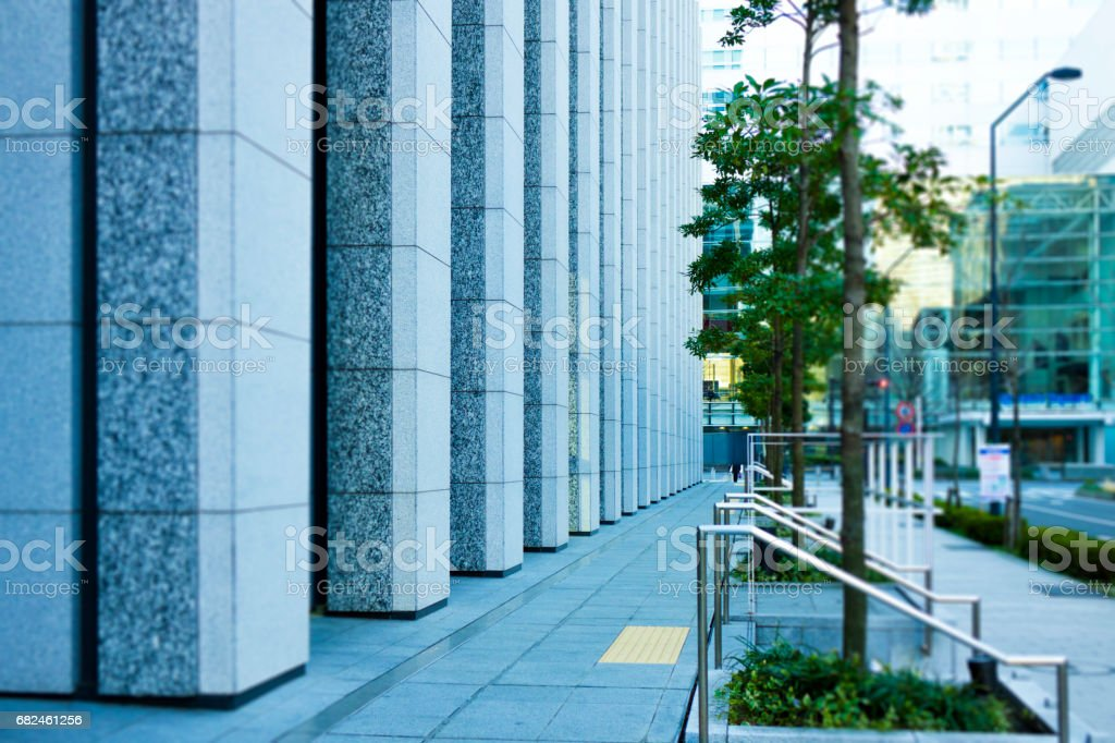 Buildings in the office area, roads and sidewalks royalty-free stock photo