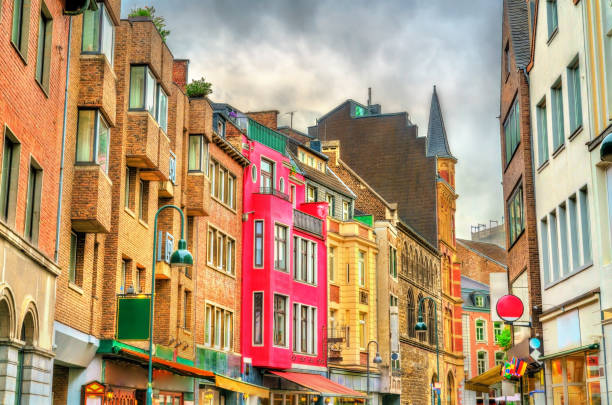 Buildings in the old town of Aachen, Germany stock photo