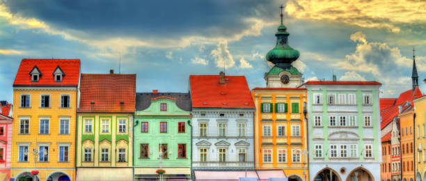 Buildings in the old town of Ceske Budejovice, Czech Republic stock photo