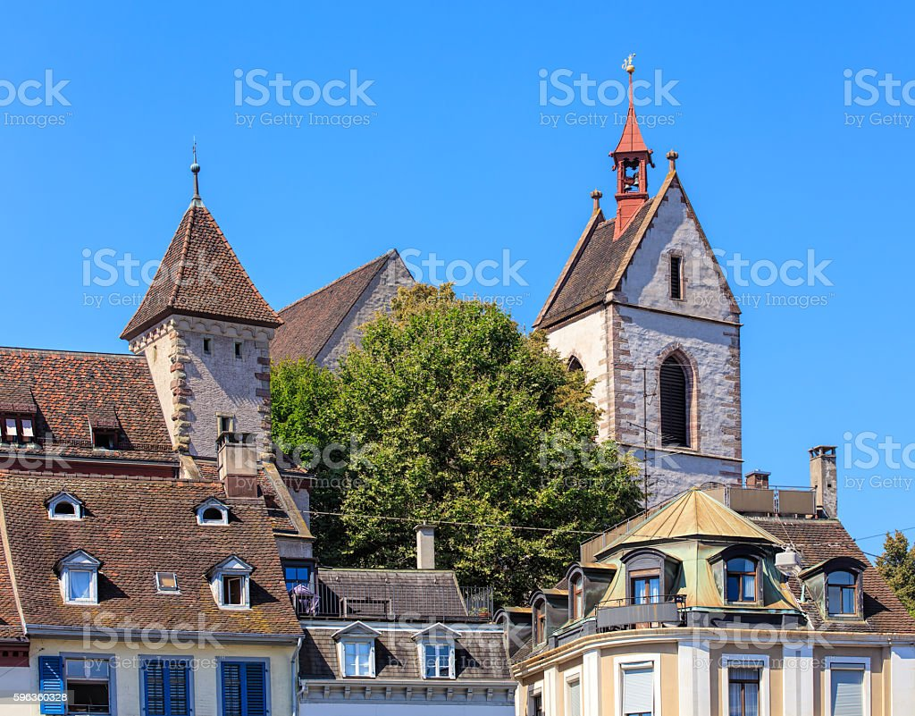Buildings in the old town of the city of Basel royalty-free stock photo
