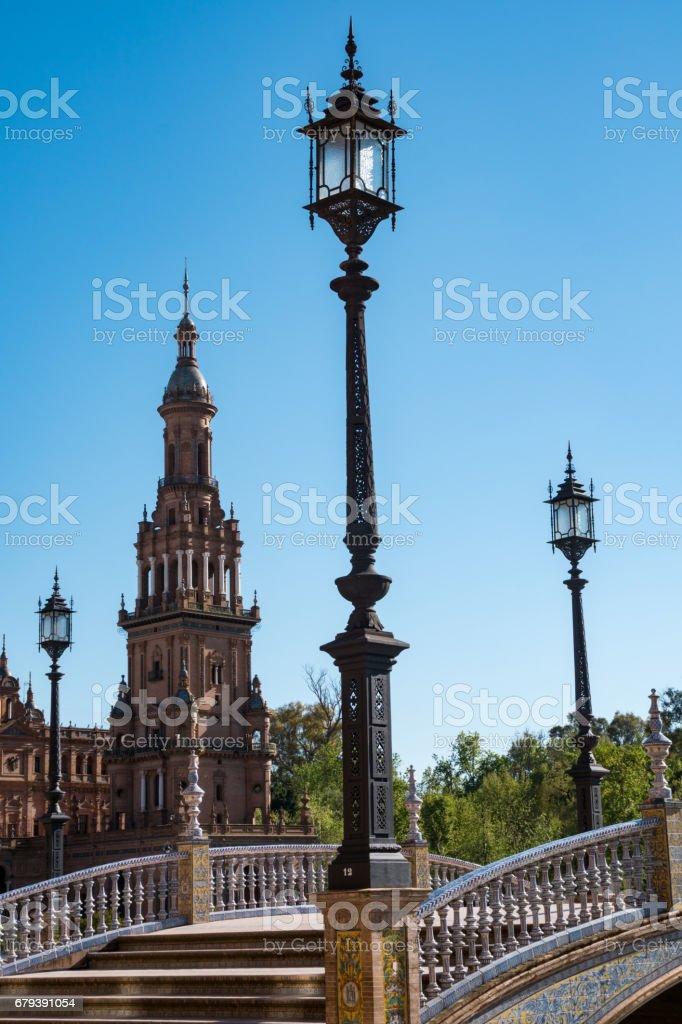 Buildings In The Plaza De Espana In Andalusia Sevillia Spain royalty-free stock photo