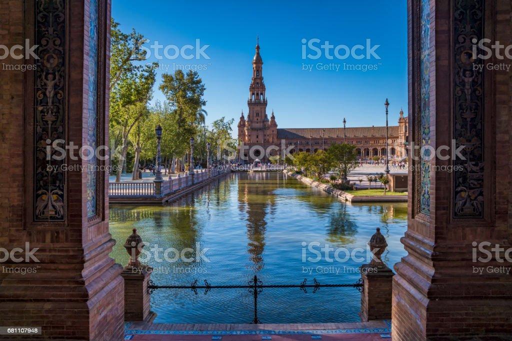 Buildings In The Plaza De Espana In Andalusia Sevillia Spain stock photo