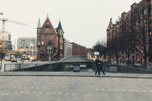 Buildings in the Speicherstadt district in Hamburg, Germany.