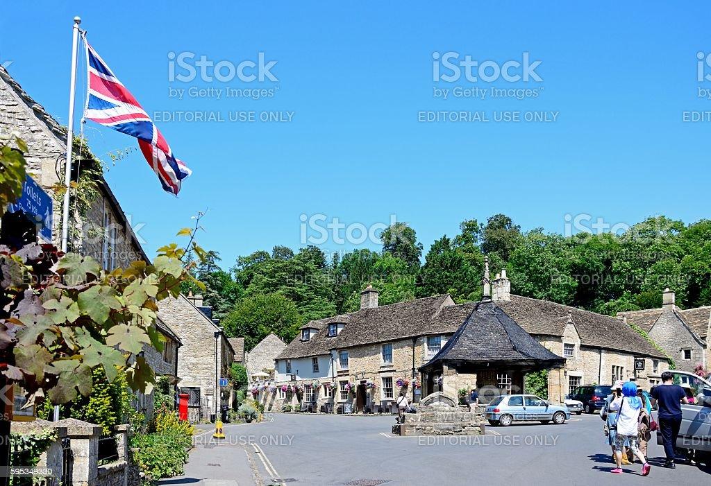 Buildings in the village centre, Castle Combe. stock photo