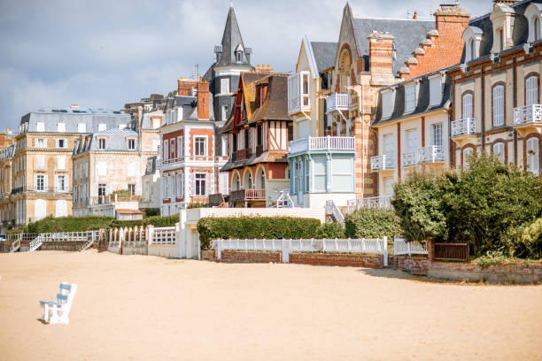 Buildings in Trouville town, France Luxury buildings on the coastline of Trouville, famous french resort in Normandy calvados stock pictures, royalty-free photos & images