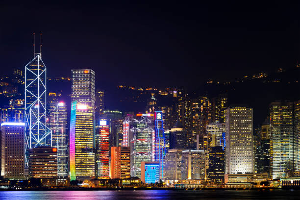 buildings lighting show, hong kong. - dazzlingly stock pictures, royalty-free photos & images