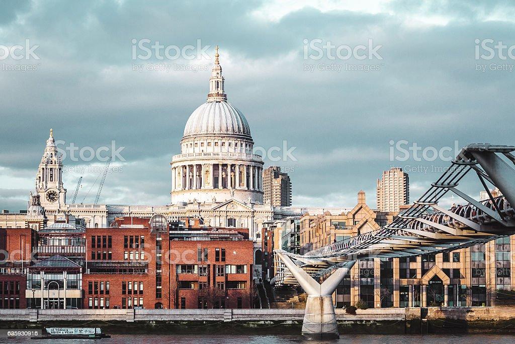 Buildings near Millennium Bridge in London, England stock photo