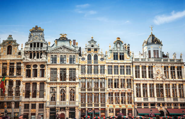 Buildings of Grand Place (Grote Markt), Brussels, Belgium stock photo