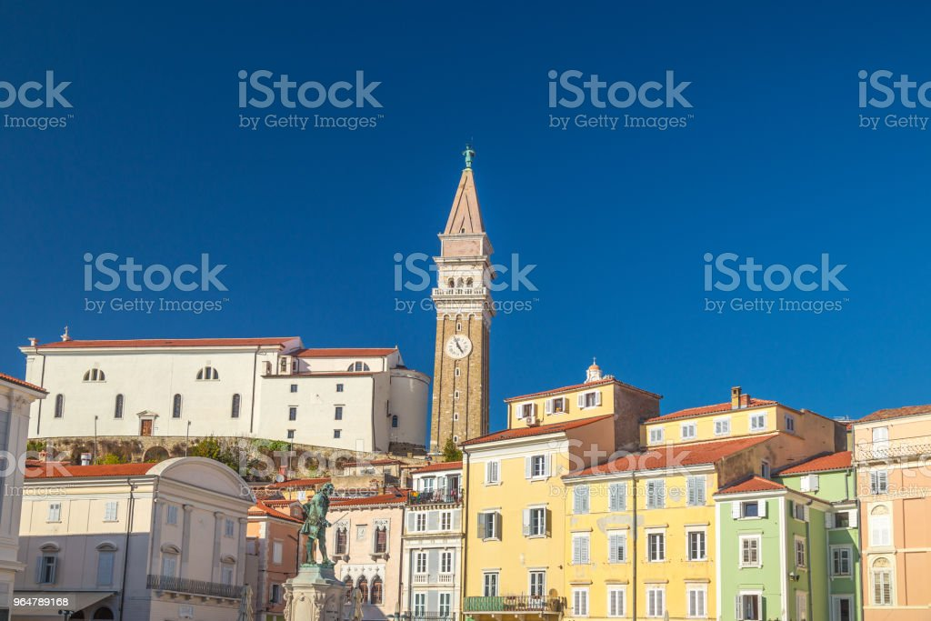 Buildings of Piran town on Adriatic sea. royalty-free stock photo