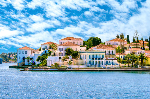 Buildings of Spetses island on Saronic gulf near Athens. Ideal travel destination for quiet vacations . Greece stock photo