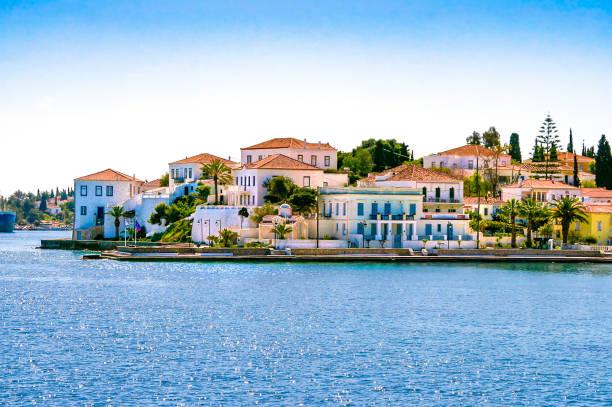 Buildings of Spetses island stock photo