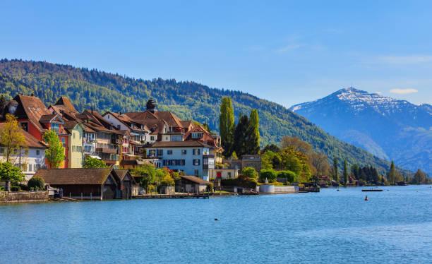 Buildings of the city of Zug in Switzerland Zug, Switzerland - 6 May, 2016: buildings of the city of Zug as seen from Lake Zug, summit of Mt. Rigi in the background. The city of Zug is the capital of the Swiss canton of Zug. Lake Zug is a lake in central Switzerland, situated between Lake Lucerne and Lake Zurich. zug stock pictures, royalty-free photos & images