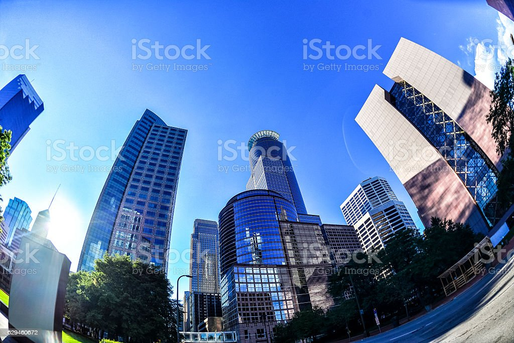 Buildings of the Dowtown Minneapolis Skyline stock photo