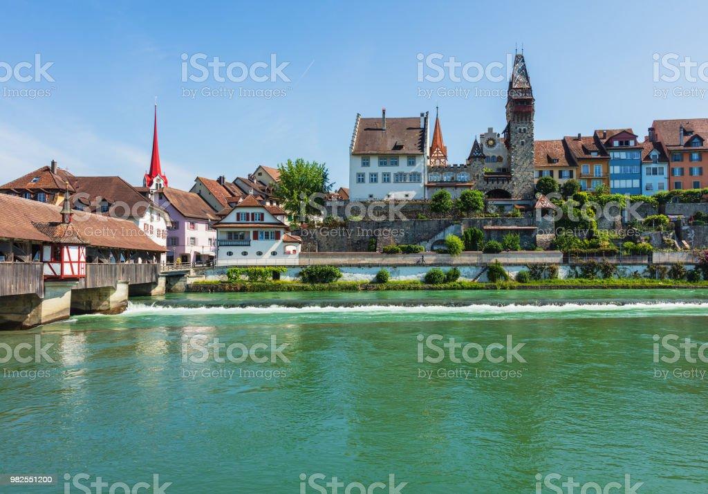 Gebäude des historischen Teils der Stadt Bremgarten an der Reuss – Foto