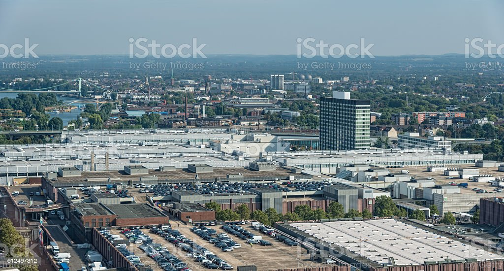 buildings of the koelnmesse area in Cologne Germany stock photo