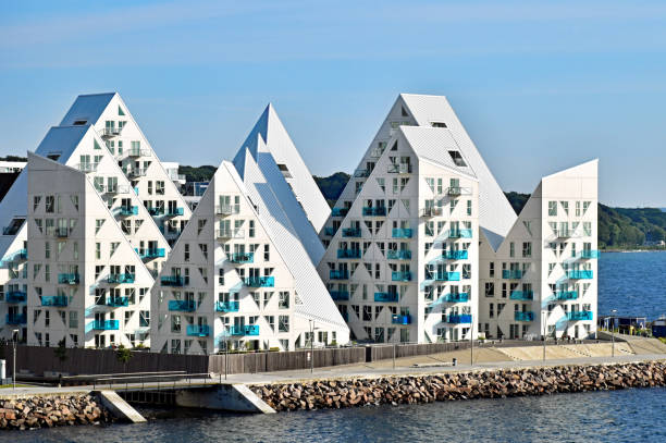 "buildings of the residential complex ""isbjerget"" (iceberg) in aarhus in denmark - denmark stock photos and pictures"