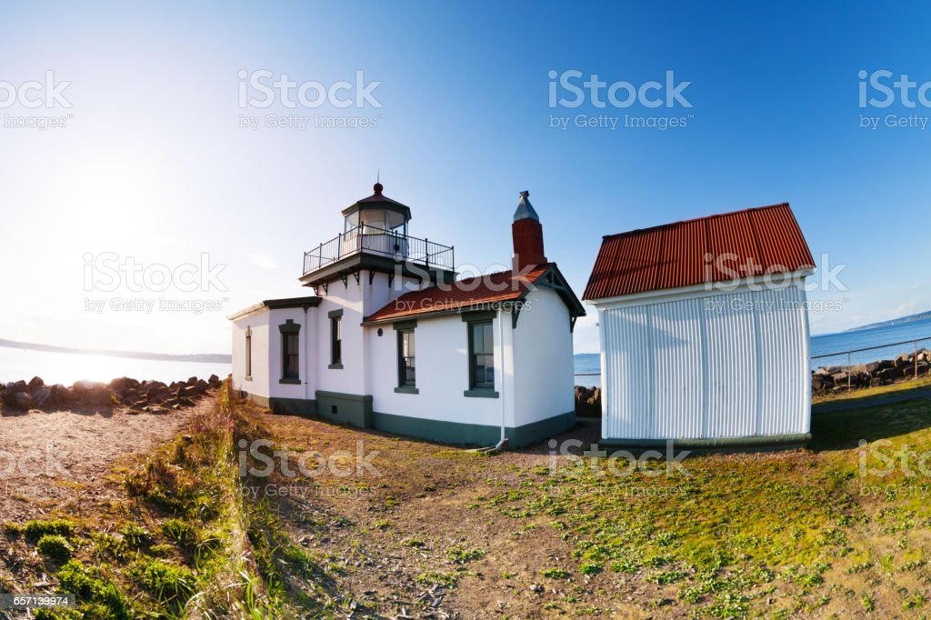 Buildings of West Point Lighthouse at sunny day stock photo