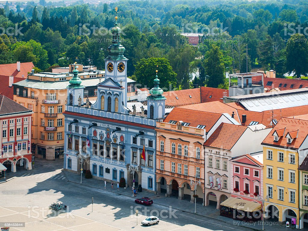 Buildings on a main square in Ceske Budejovice stock photo