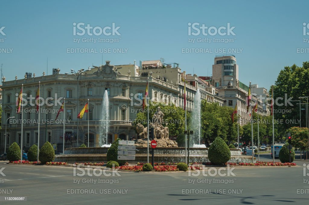 Madrid, Spain - July 25, 2018. Old buildings on the busy Alcala...