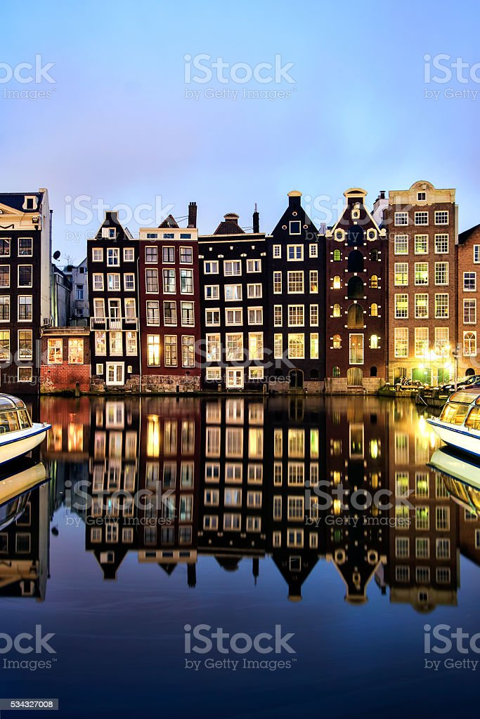Buildings on canal in Amsterdam, Netherlands stock photo