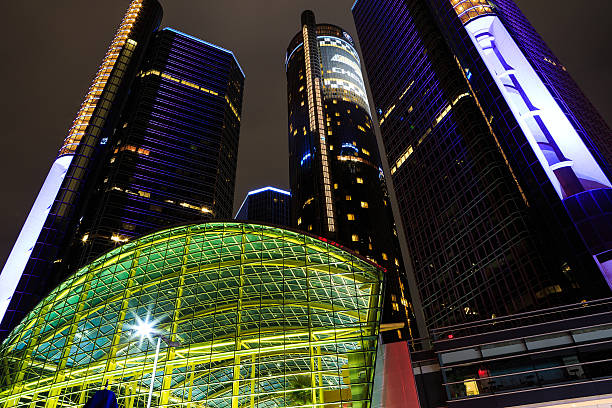 Buildings on Detroit waterfront at conference center at night stock photo