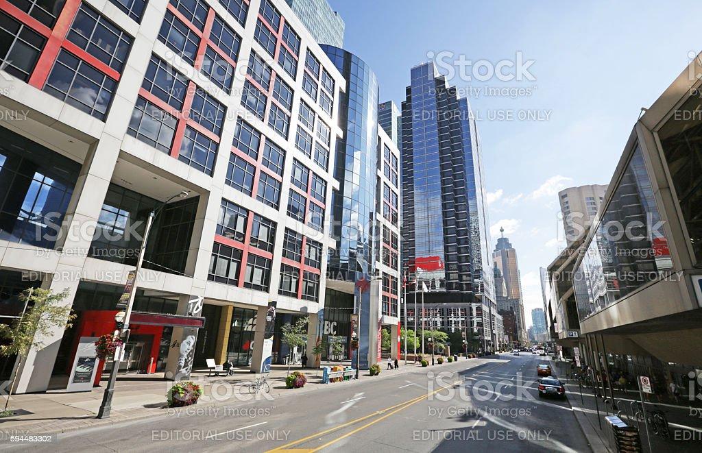 Buildings on Front Street, Toronto's Downtown West Neighbourhood stock photo