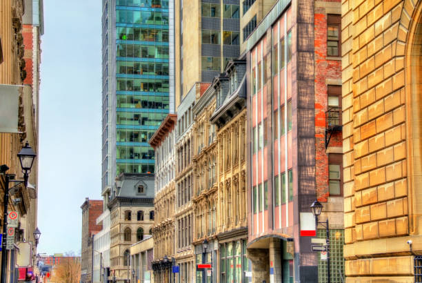 Buildings on Notre-Dame street in Old Montreal, Canada stock photo