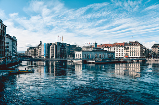 Buildings On Rhône Rive Quay In Geneva, Switzerland