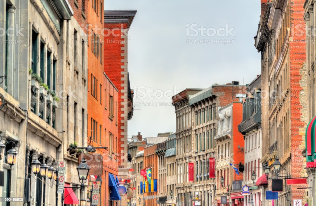 Buildings on St Paul street in Old Montreal, Canada