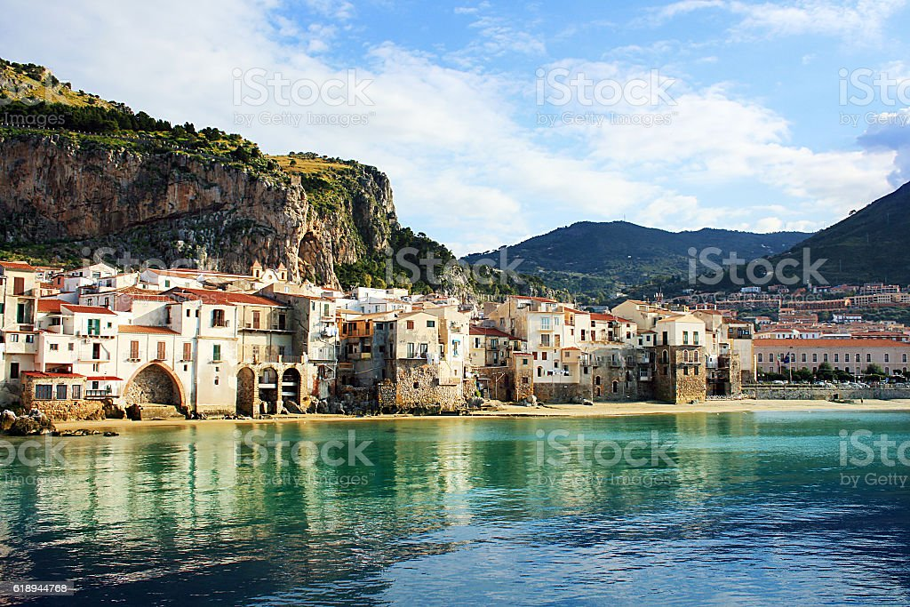 Buildings on the coast of Cefalu, Palermo stock photo