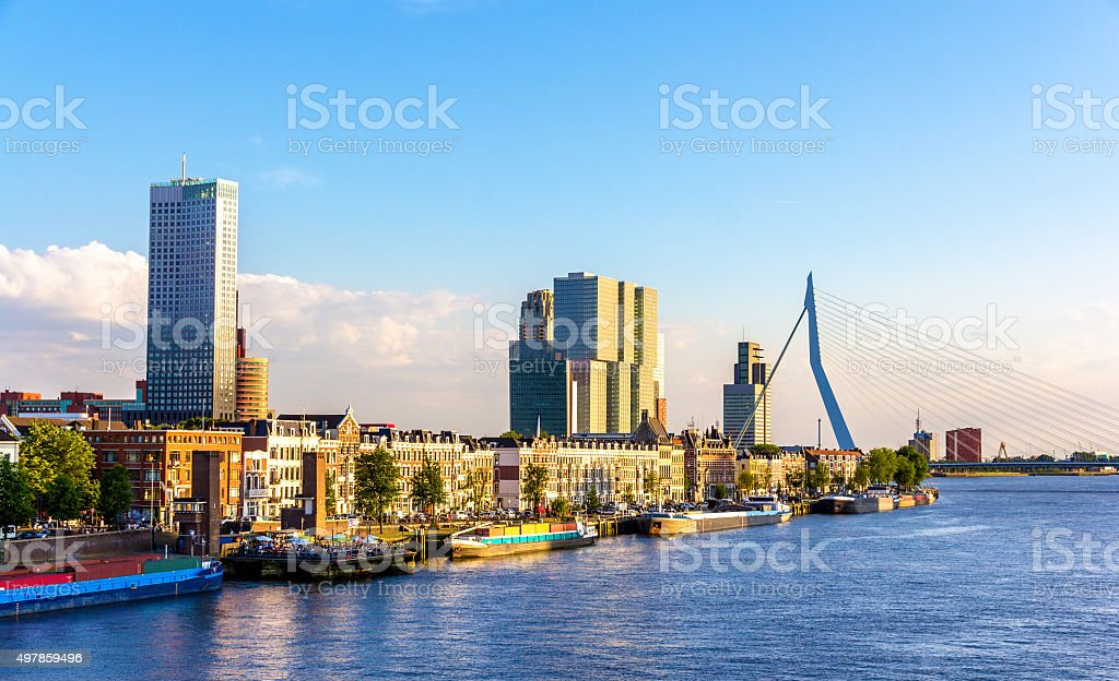 Buildings on the embankment of Rotterdam - the Netherlands stock photo