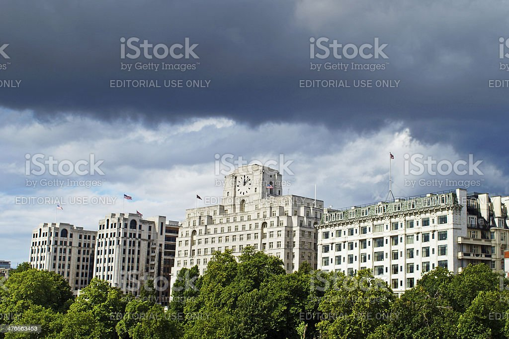 Buildings on the North Bank of the Thames stock photo