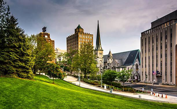Buildings on Third Street in Harrisburg, Pennsylvania. stock photo