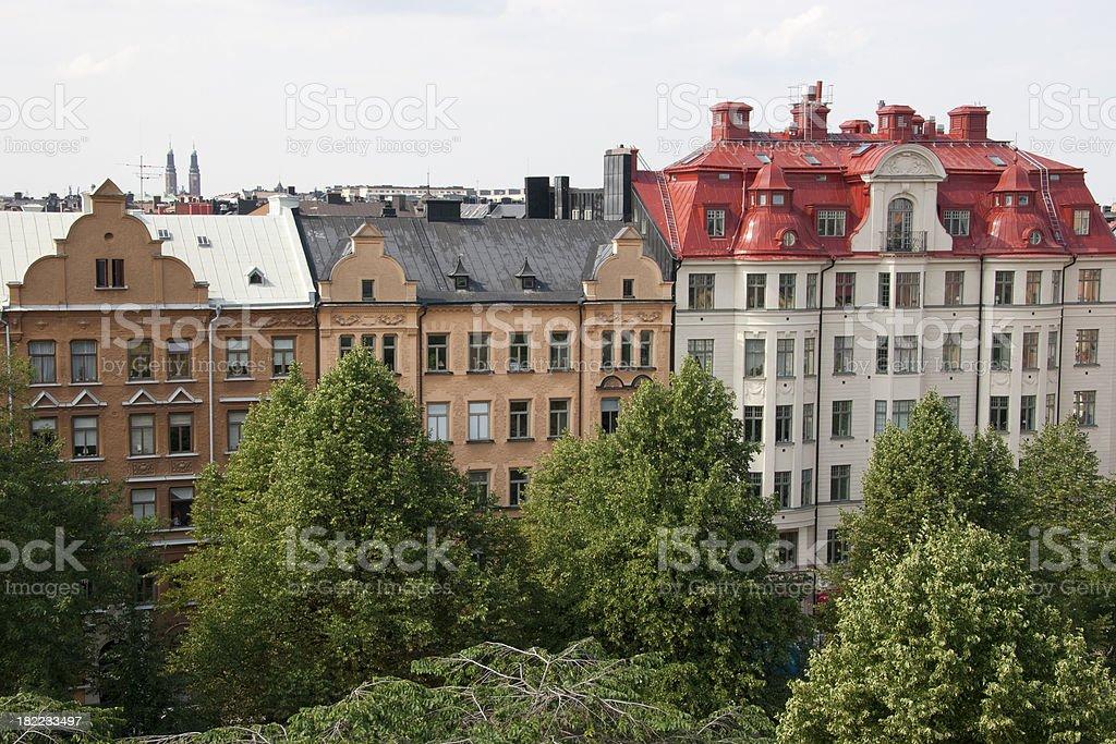 Buildings Overlooking Humlegården Park, Östermalm District, Stockholm, Sweden royalty-free stock photo
