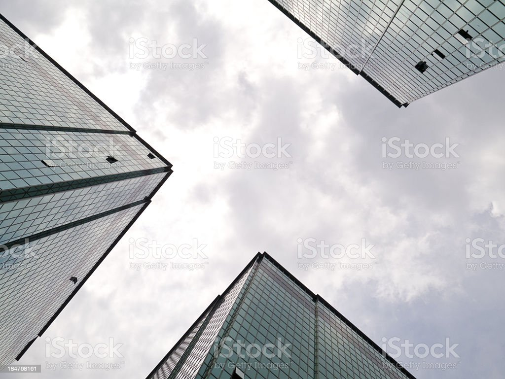 Buildings perspective view from street level to sky stock photo