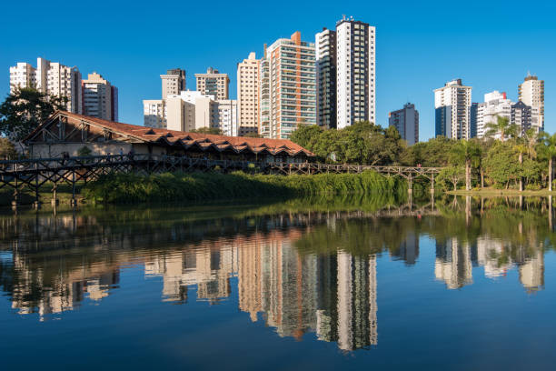Buildings Reflected in Water stock photo