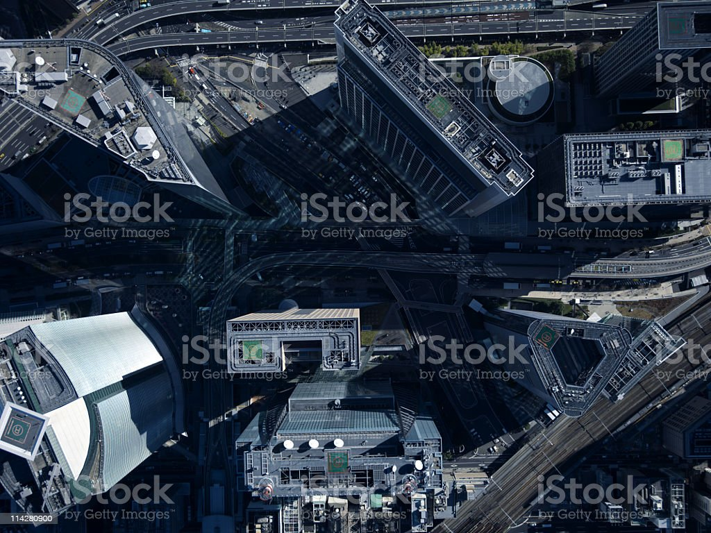 Buildings seen from above. stock photo
