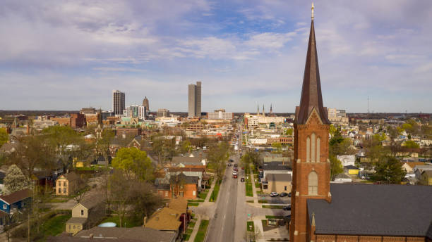 Buildings Streets and Homes in Fort Wayne Indiana stock photo