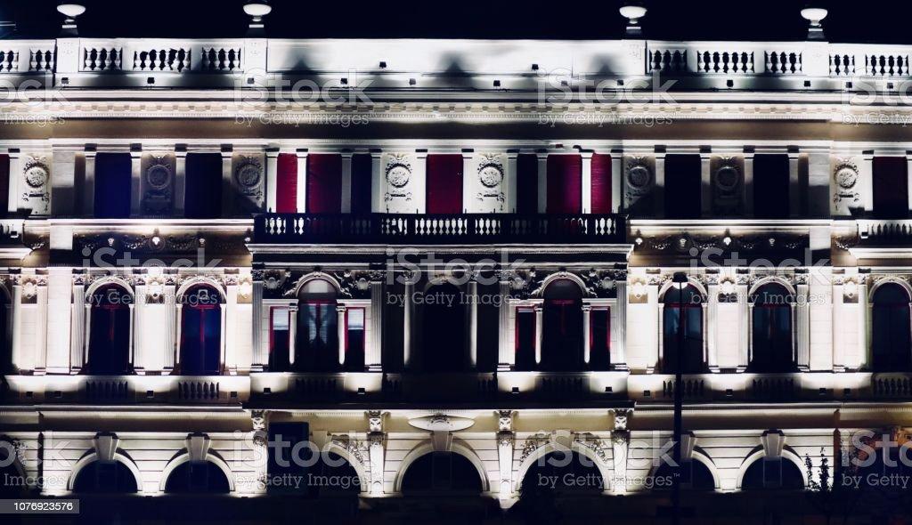 Buildings through the night stock photo