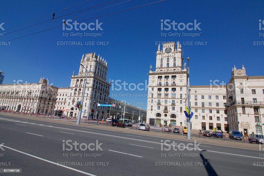 Buildings tower at Railway Square in Minsk, Belarus. stock photo