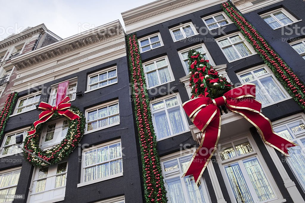 Buildings with Christmas decoration (XXL) stock photo