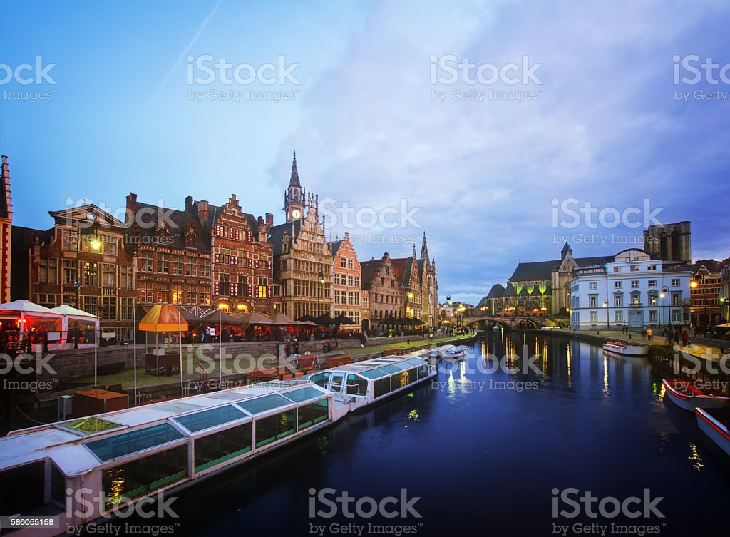 Buildings With Tourboats, Ghent stock photo