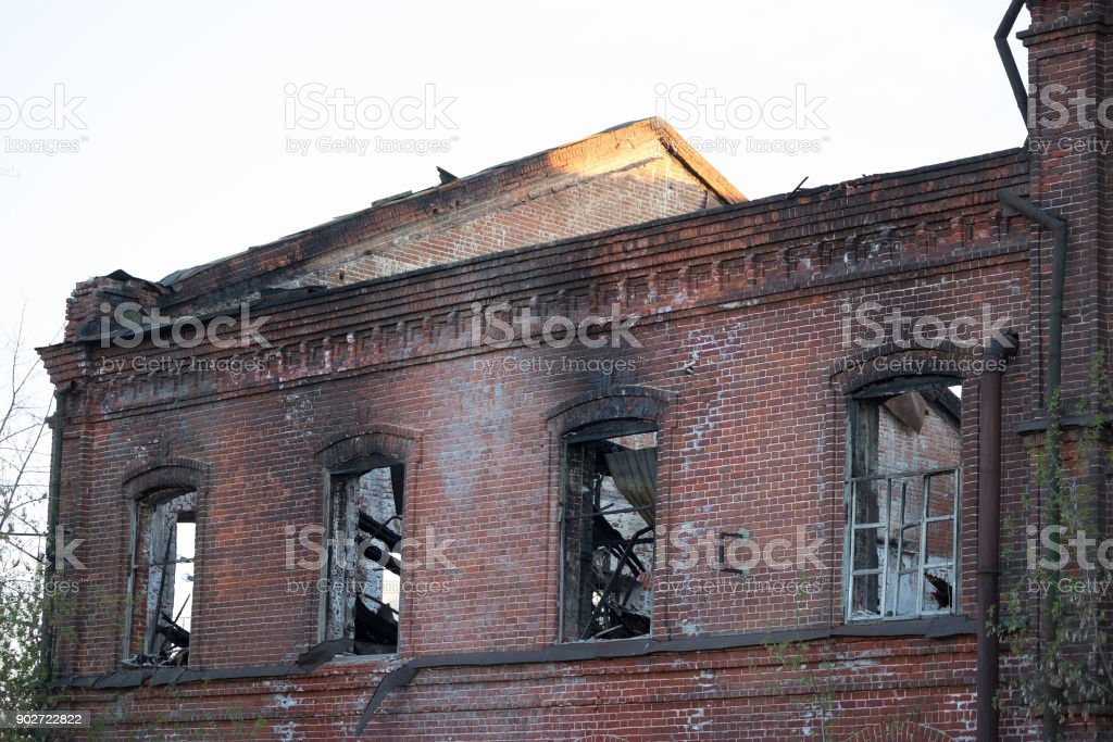 builing after a fire stock photo