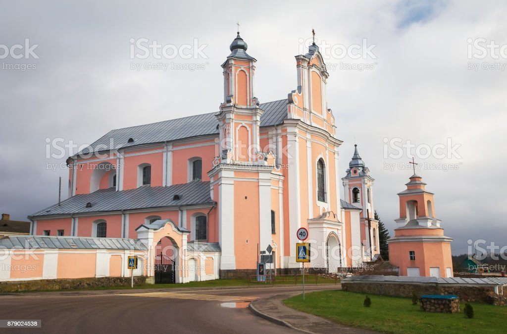 Built in baroque style historic Catholic Church in Grodno (Hrodna) region, Belarus. stock photo