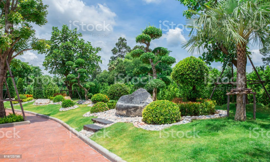 Built Space, Formal Garden, Front or Back Yard, Lawn, Ornamental Garden stock photo