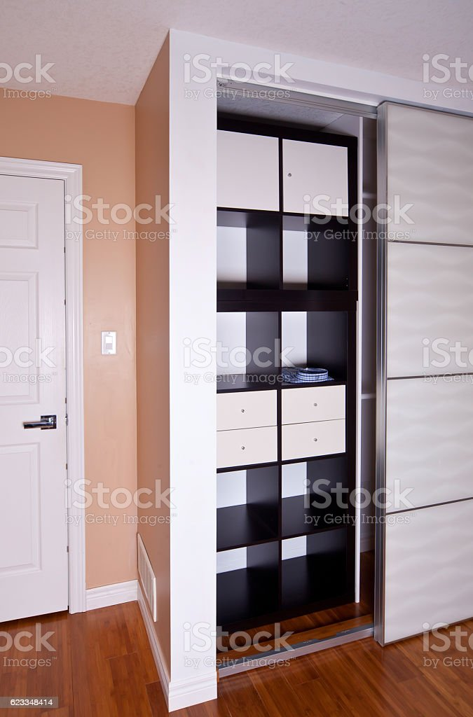 Builtin Closet With Sliding Door Shelving Storage ...