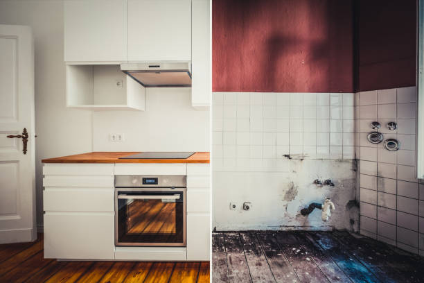 Einbau-Küche vor und nach der Restaurierung - Renovierung-Konzept – Foto